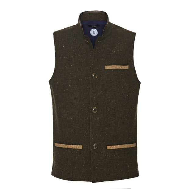 Men's Tweed Wool Darzi gilet in dark brown - front view
