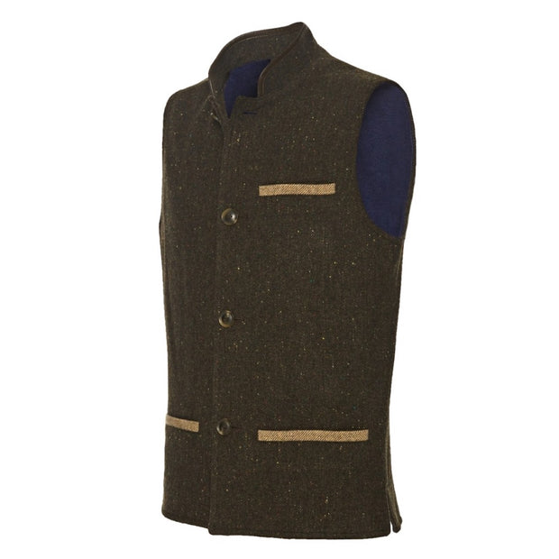 Men's Tweed Wool Darzi gilet in dark brown - side view