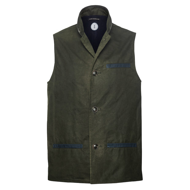 Green waxed cotton Darzi gilet front view