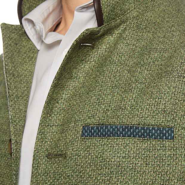 Men's Tweed Wool Darzi gilet in green weave - close up view