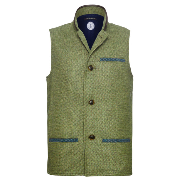 Men's Tweed Wool Darzi gilet in green weave - front view