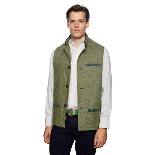 Man wearing Tweed Wool Darzi gilet in green weave