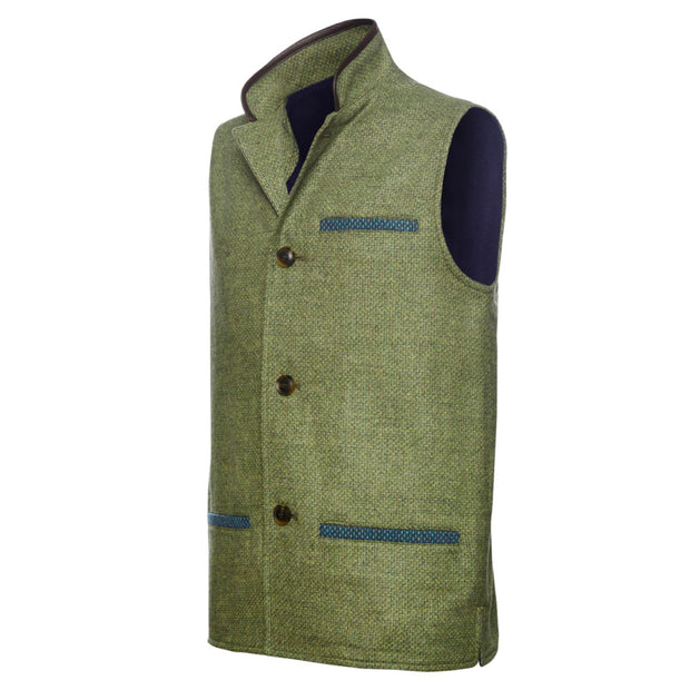Men's Tweed Wool Darzi gilet in green weave - side view