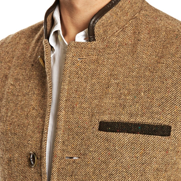 Men's Shetland Wool Darzi gilet in camel brown- close up
