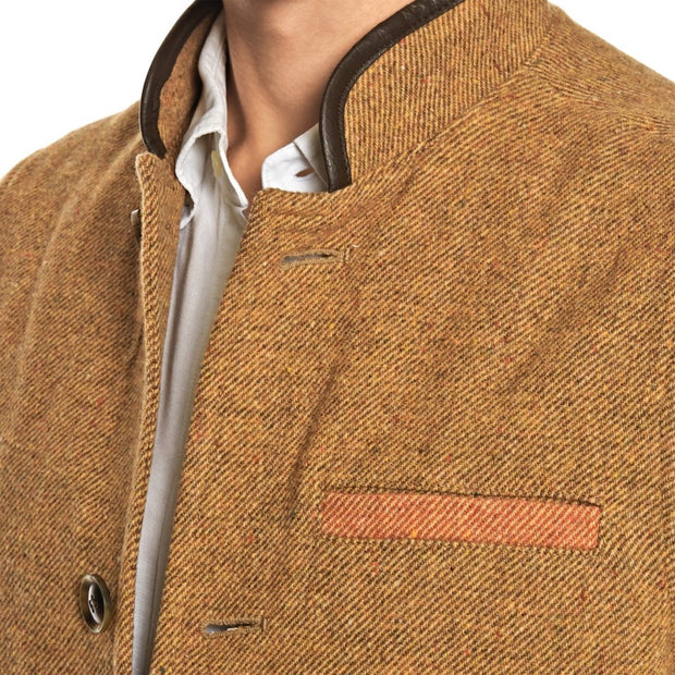 Men's Tweed Wool Darzi Gilet in sand - close up