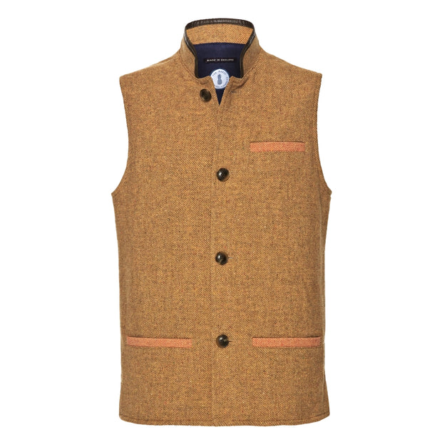 Men's Tweed Wool Darzi Gilet - Front View