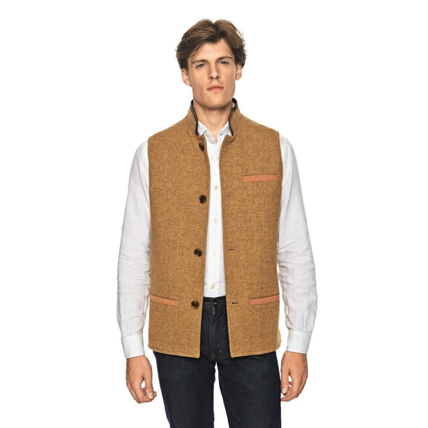 Man wearing Tweed Wool Darzi Gilet in Sand