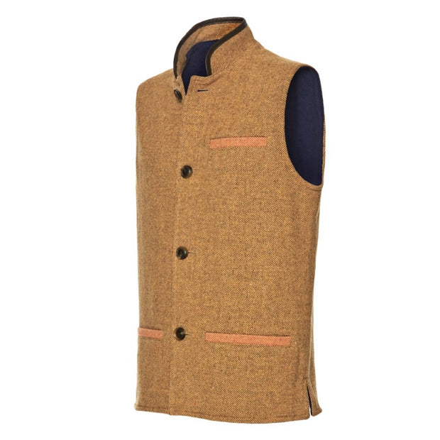 Men's Tweed Wool Darzi Gilet in Sand - Side View