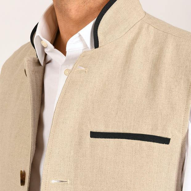 Stone Linen Darzi Gilet Close Up