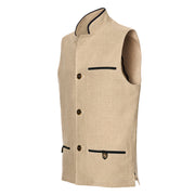 Stone Linen Darzi Gilet Side View