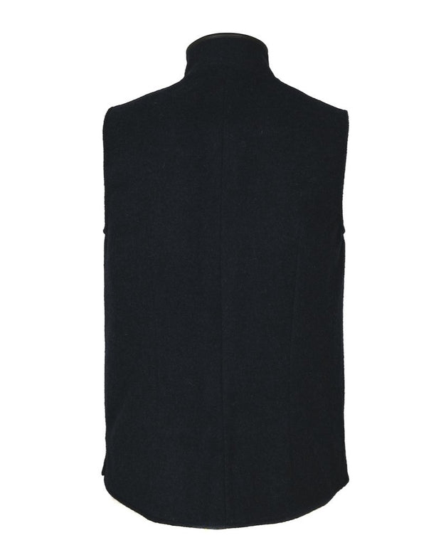 Mens Midnight Blue merino wool Darzi gilet from behind