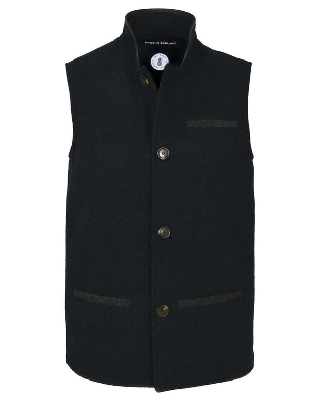 Mens Midnight Blue merino wool Darzi gilet from front