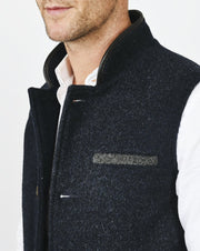 Mens Midnight Blue merino wool Darzi gilet close up