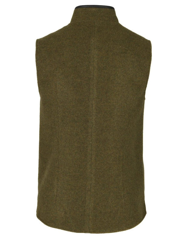 Mens Moss Green merino wool Darzi gilet from behind