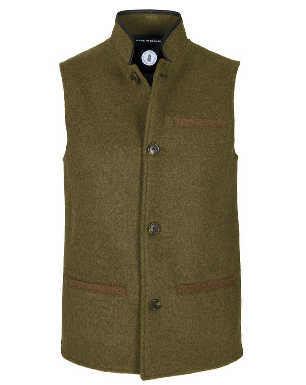 Mens Moss Green merino wool Darzi gilet from front