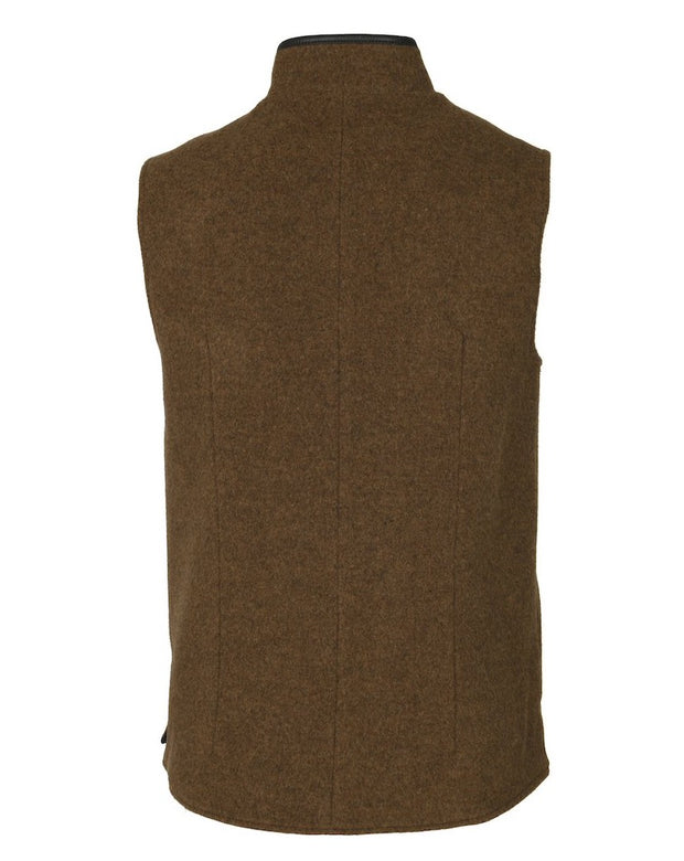 Mens Mouse Brown merino wool Darzi gilet from behind