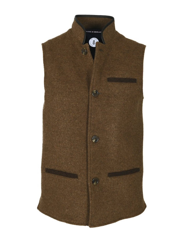 Mens Mouse Brown merino wool Darzi gilet from front