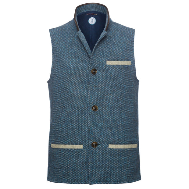 Men's Tweed Wool Darzi Gilet in Ocean Blue - Front View