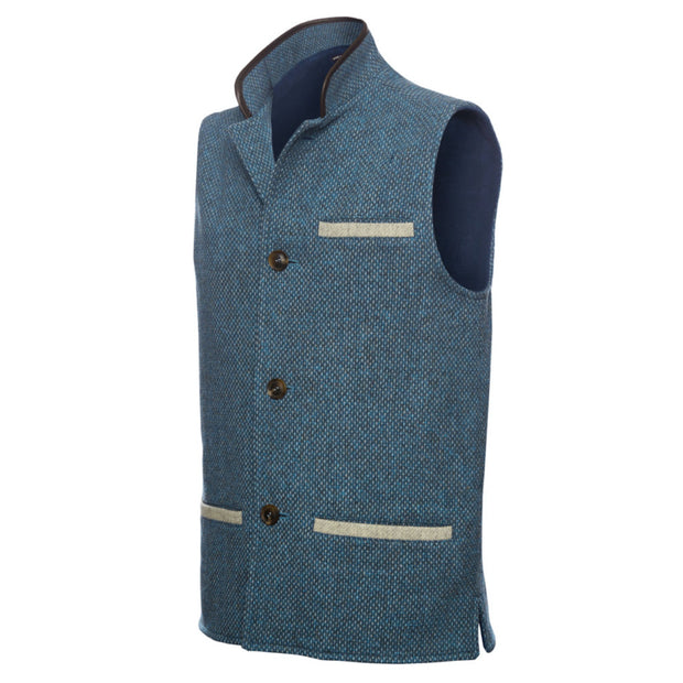 Men's Shetland Wool Darzi Gilet in Ocean Blue - Close Up
