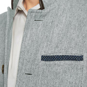 Men's Tweed Wool Darzi Gilet in Pebble Grey - close up
