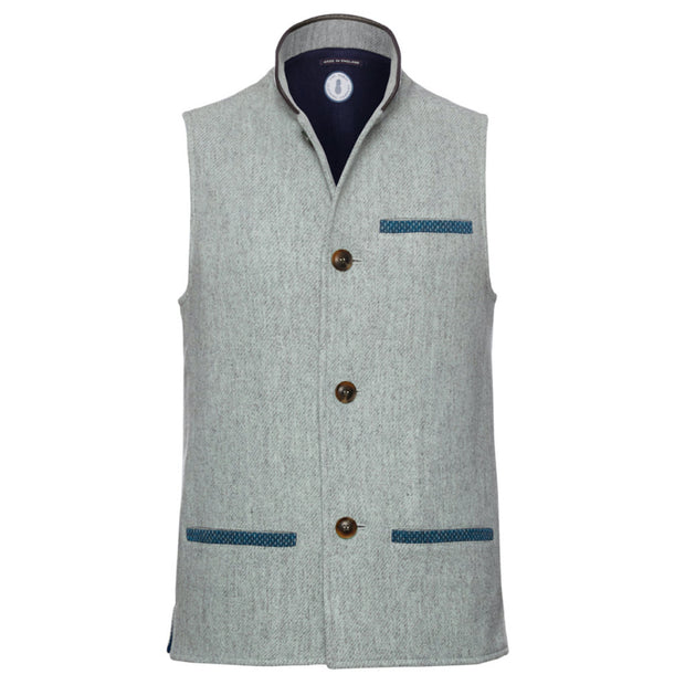 Men's Tweed Wool Darzi Gilet in Pebble Grey - front view