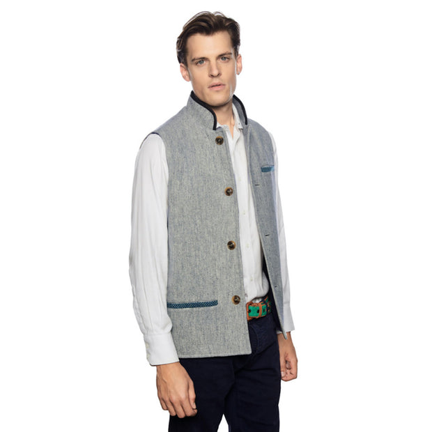 Man wearing Tweed Wool Darzi Gilet in Pebble Grey