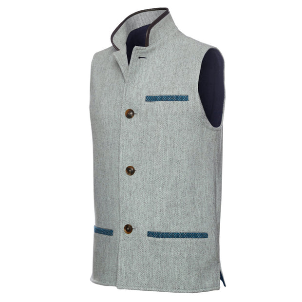 Men's Tweed Wool Darzi Gilet in Pebble Grey - side view