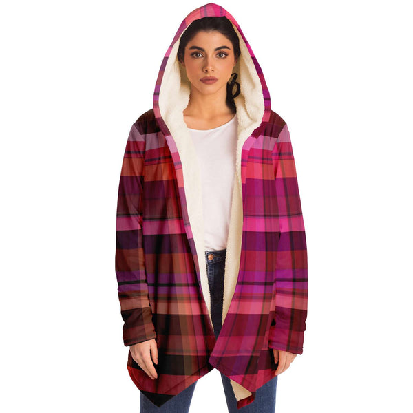 Pink Plaid Hooded Sweater