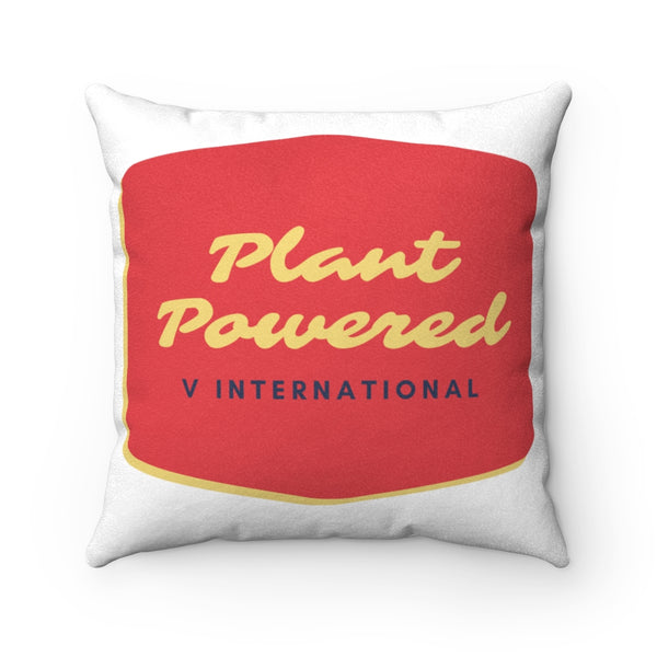 Retro Plant Powered Faux Suede Pillow Case & Square Pillow
