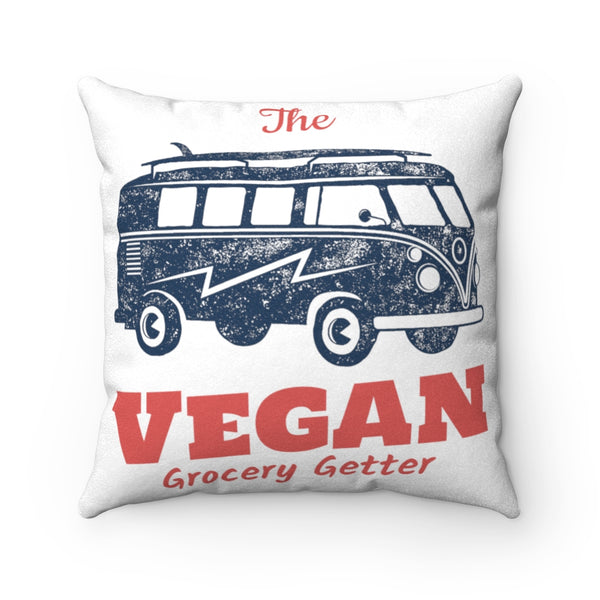 Retro Vegan Grocery Getter Faux Suede Square Pillow Case