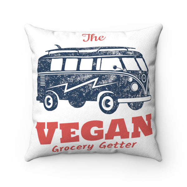 Retro Vegan Grocery Getter Faux Suede Pillow Case & Square Pillow