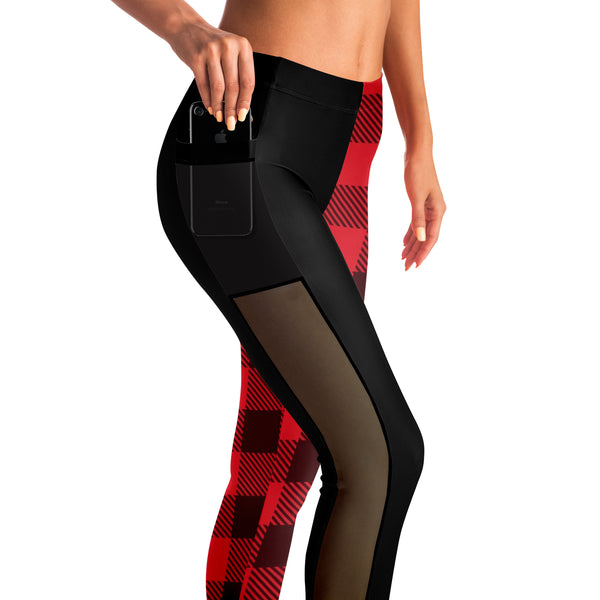 Buffalo Plaid Legging/Tights - Left Leg Pattern w' Mesh Sides