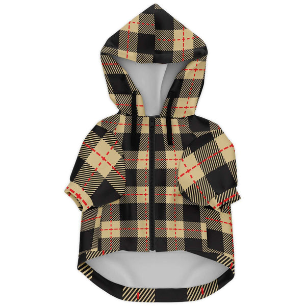Tan Plaid Hooded Doggie Jacket