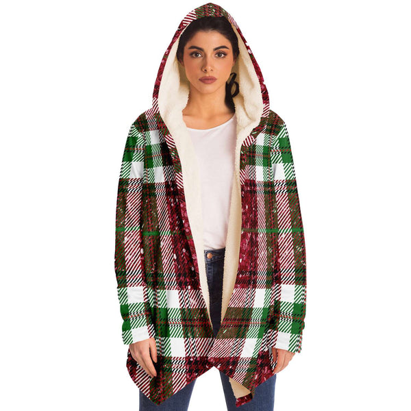 Sparkle Plaid Hooded Sweater