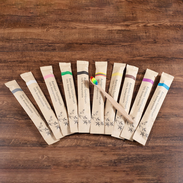 10 Piece Bamboo Tooth Brush Set
