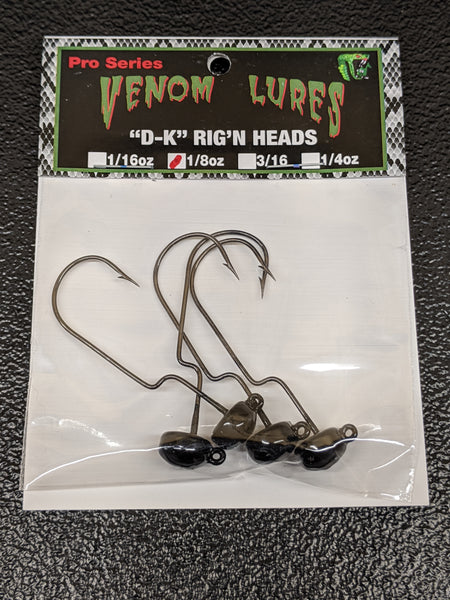 Venom Weedless D-K Jig Heads