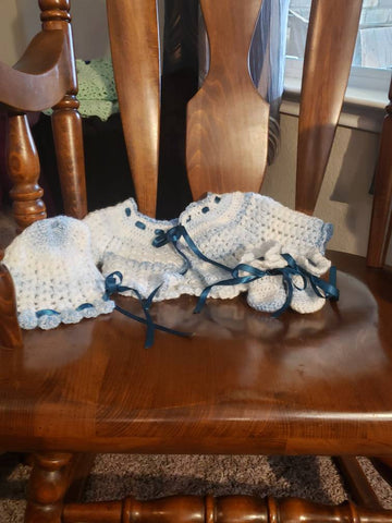 Baby jacket, bonnet, and booties
