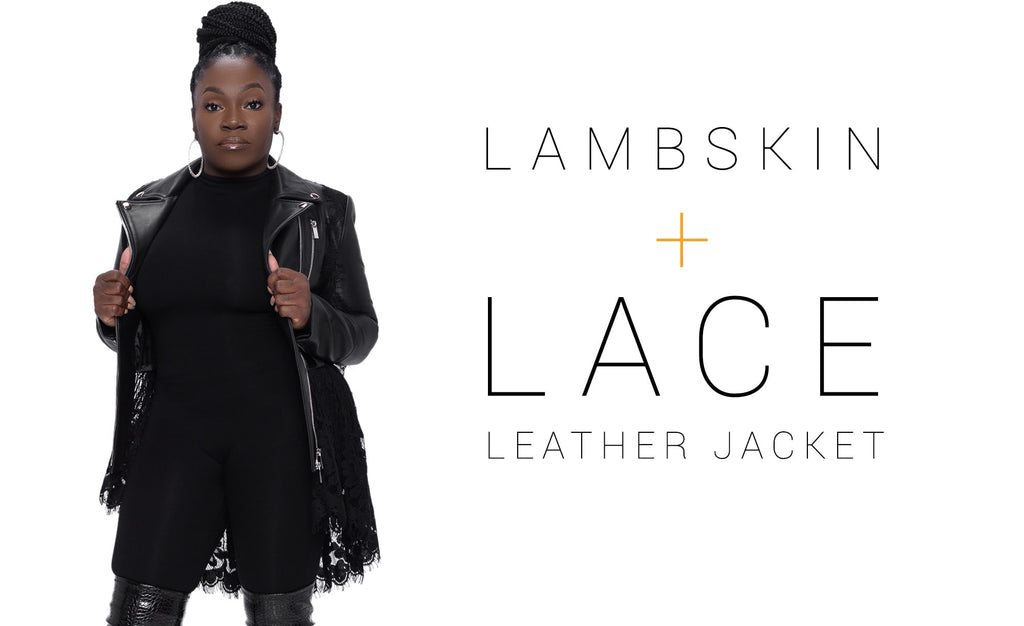 Black + Posh Butter-Soft Lambskin Leather And Lace Peplum Jacket