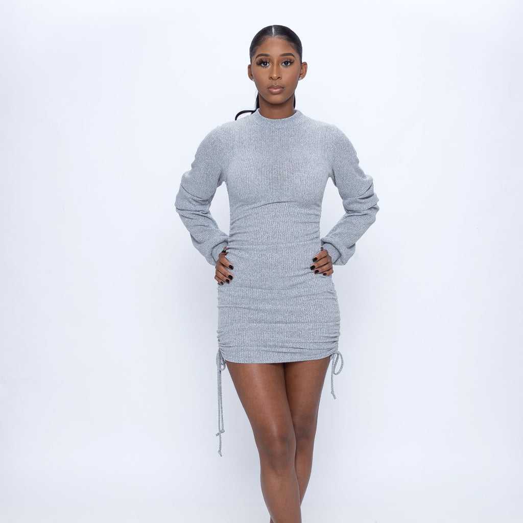This Long Sleeve Drawstring Mini Dress is so cute!