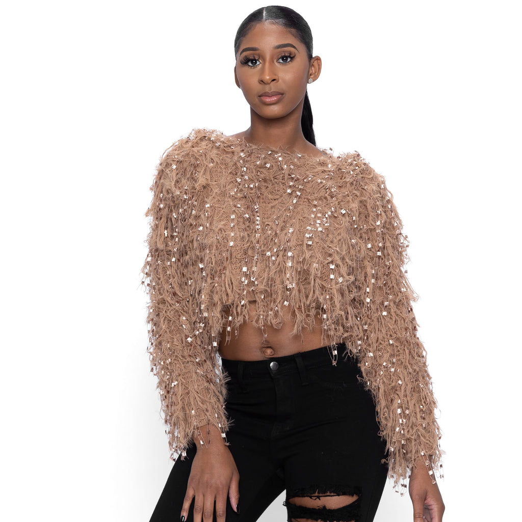 Mocha Fringed Fluffy Crop Sweater