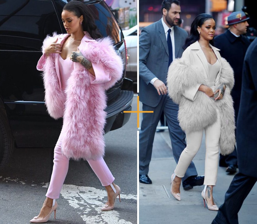 Rihanna Wearing Pastel Furs With Pants Suits