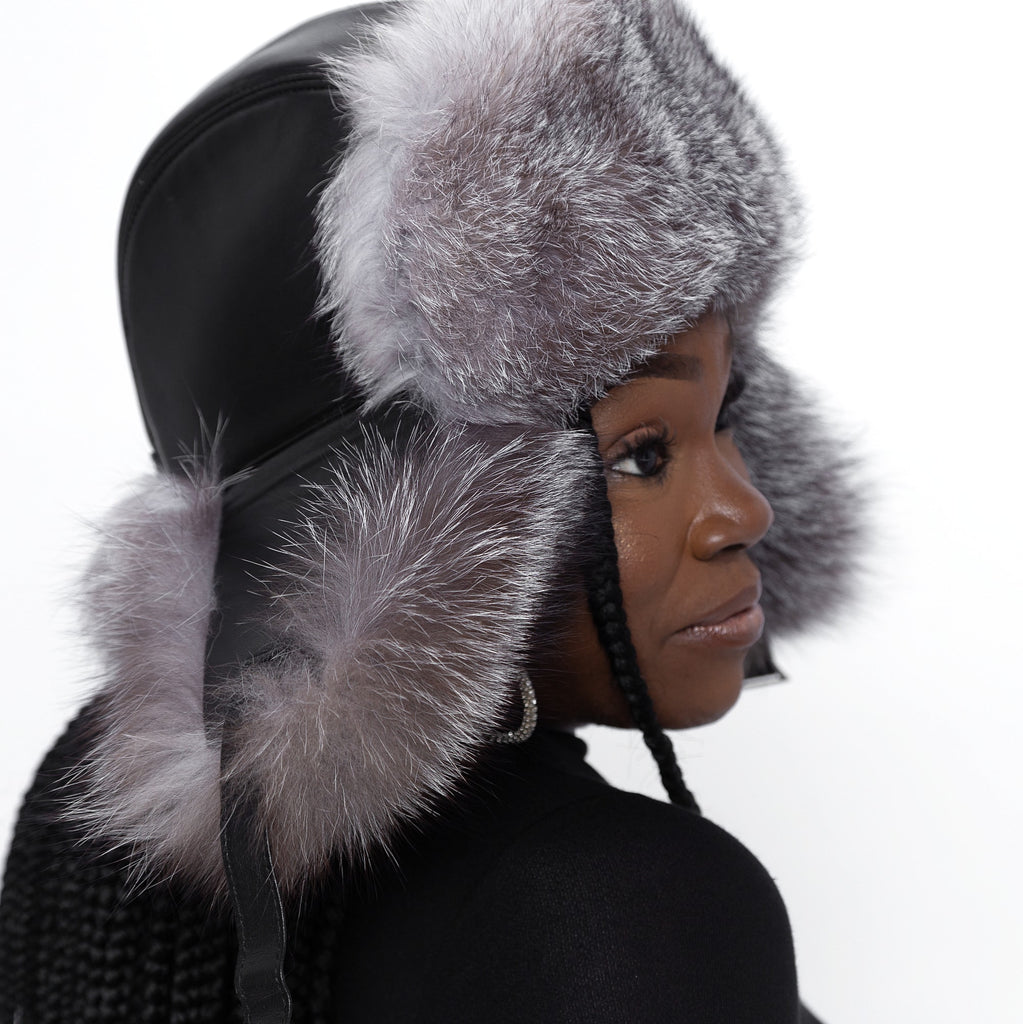 Leather & Silver Fox Fur Hat