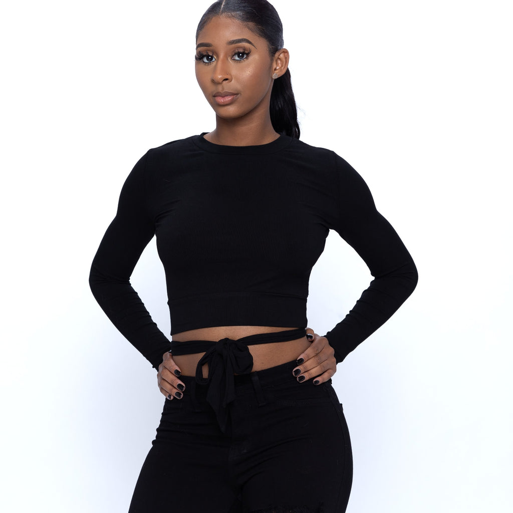 Long Sleeve Crop Top With Backless Tie