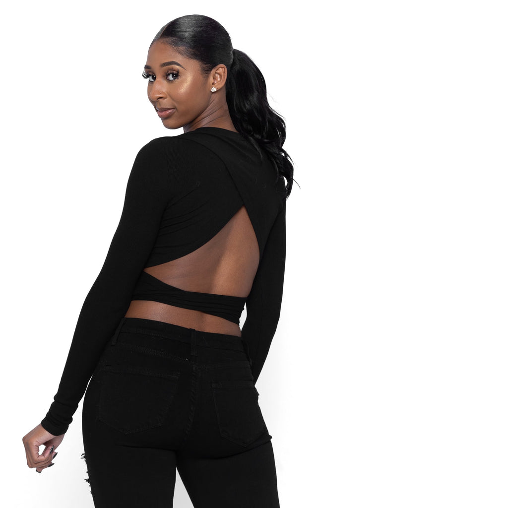 Long Sleeve Top With Backless Tie In Black