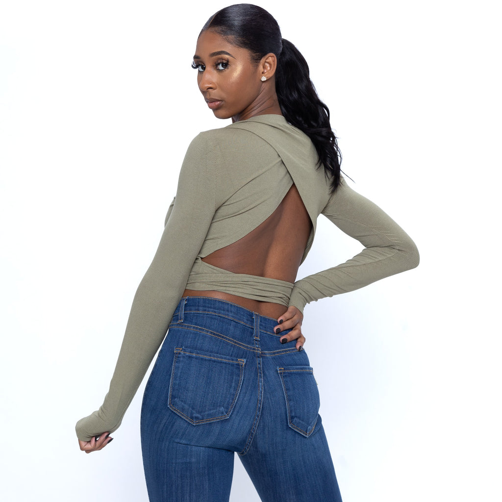 Long Sleeve Top With Backless Tie In Olive