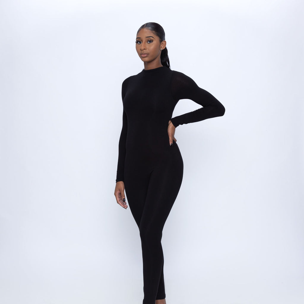 Mock Neck Long Sleeve Jumpsuit (Black)