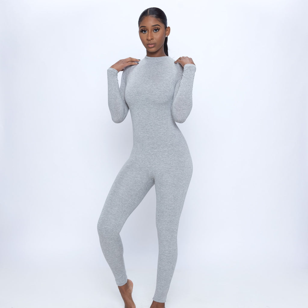 Mock Neck Long Sleeve Jumpsuit (Grey)