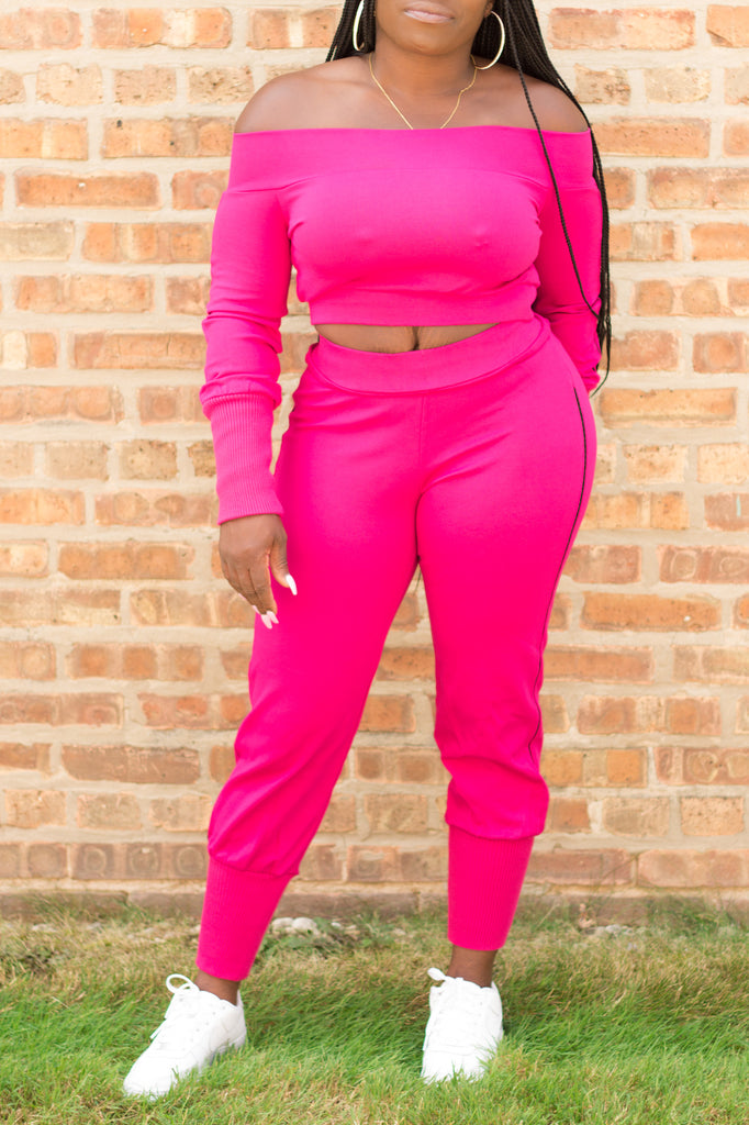 Off Shoulder Jogging Suit Available In Fuchsia At Black + Posh