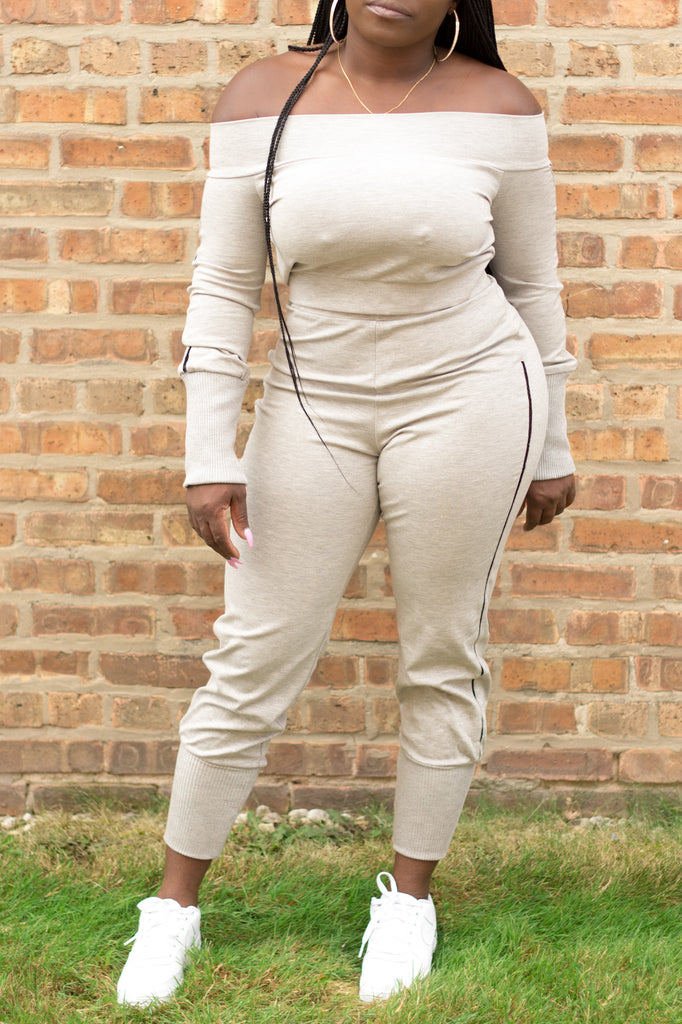 Off Shoulder Jogging Suit In Grey Available At Black + Posh