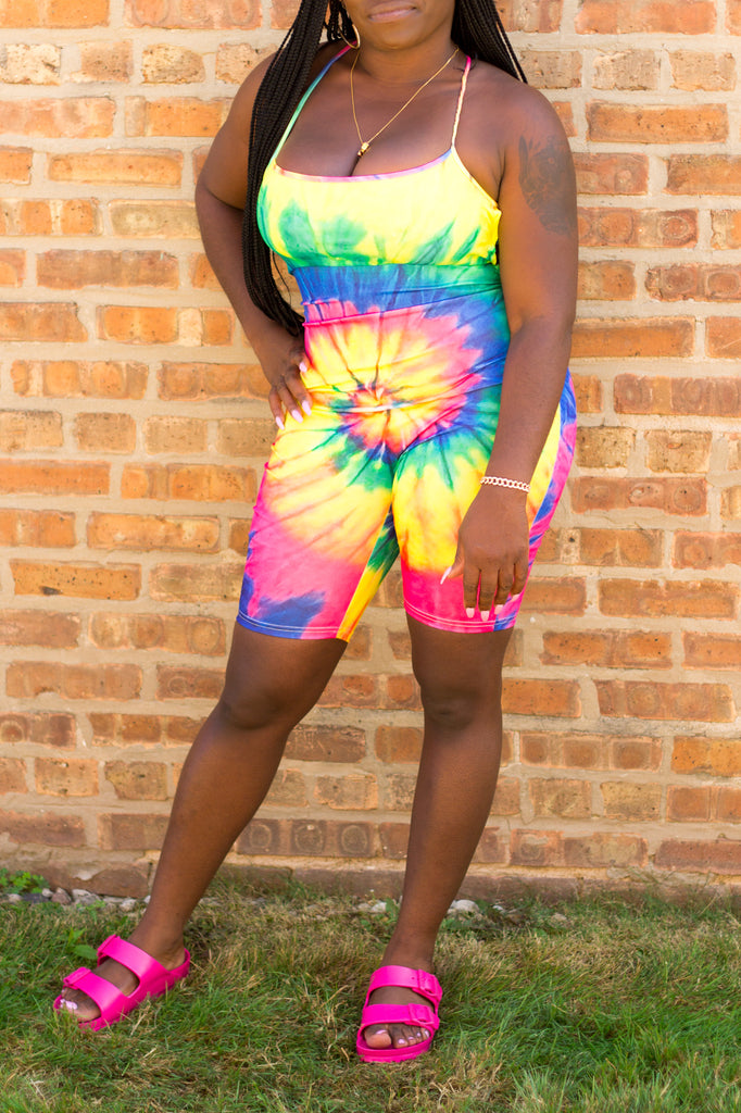 Rainbow Tie Dye Romper Available At Black + Posh
